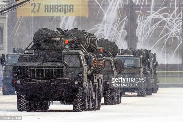 Russian antiaircraft missile systems C 400 drive during the military parade marking the 75th anniversary of the lifting of the Nazi siege of...