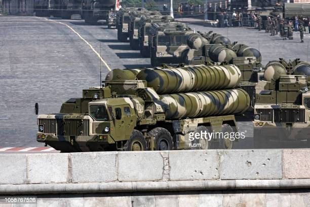 russian anti-aircraft weapon system s-300 - military parade stock pictures, royalty-free photos & images