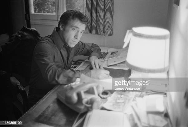 Russian antiestablishment actor poet songwriter and singer Vladimir Vysotsky at the home he shares with his wife French actress Marinal Vlady...