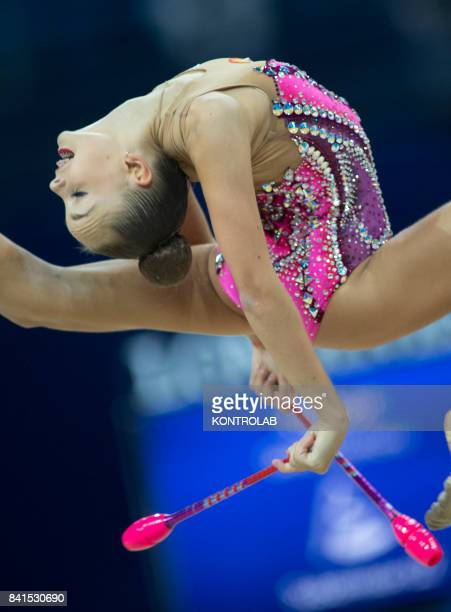 Russian Arina Averina performs the clubs exercise during the FIG 35th Rhytmic Gymnastic World Championship