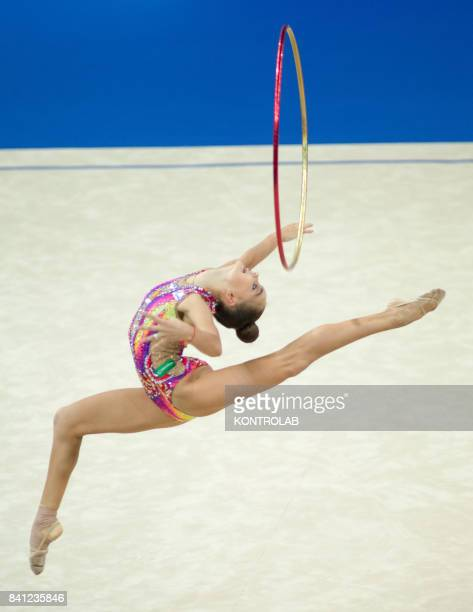 Russian Arina Averina performs the hoop exercise during the FIG 35th Rhytmic Gymnastic World Championship in Pesaro