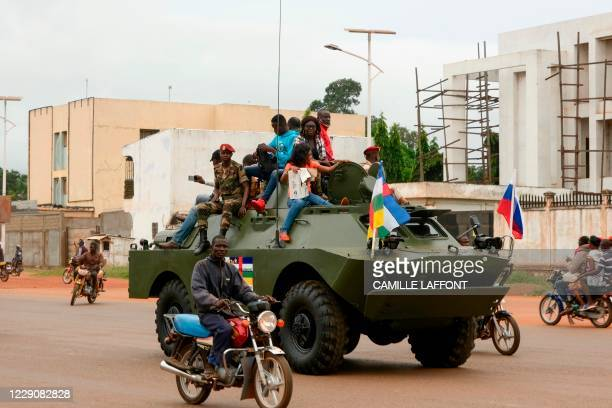 Russian armoured personnel carrier is seen driving in the street during the delivery of armoured vehicles to the Central African Republic army in...