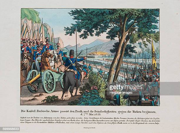 Russian army crosses the Pruth River into Moldavia on May 1828 c 1830 Private Collection Artist Anonymous