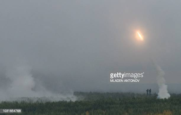 TOPSHOT Russian Army fires missiles during the Vostok2018 military drills at Telemba training ground some 130 km north of the Siberian city of Chita...