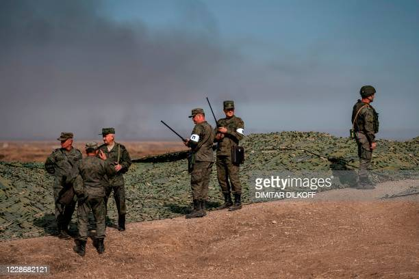 Russian Army officers lead military exercises at the Prudboy range in Volgograd region, Southern Russia on September 24, 2020 during the...