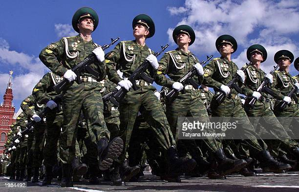 Russian army officers march during the military parade in the Red Square May 9 2003 in Moscow The military parade is a traditional aspect of the...