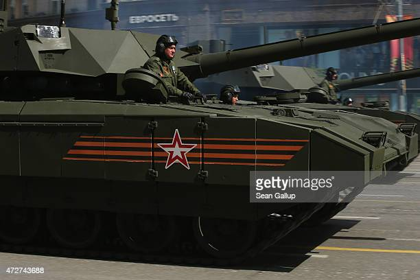 Russian Army T14 Armata tanks drive towards Red Square to participate in the annual Victory Parade as part of celebrations marking the 70th...