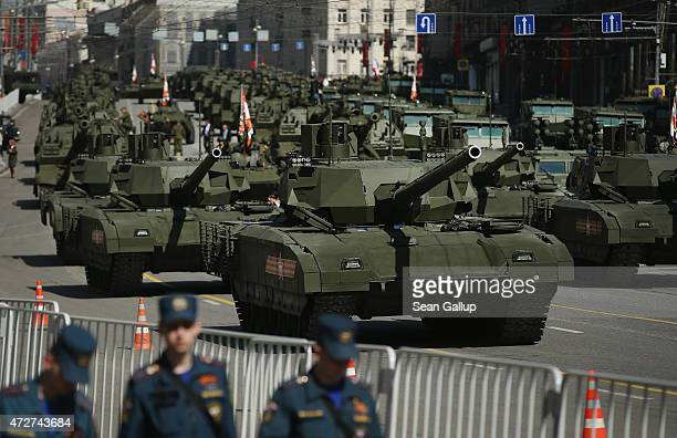 Russian Army T14 Armata tanks prepare to participate in the annual Victory Parade at Red square as part of celebrations marking the 70th anniversary...