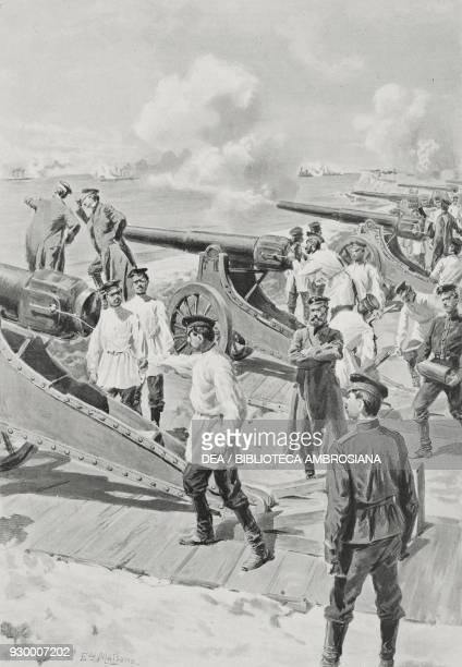 Russian artillery in Port Arthur RussoJapanese war drawing by Edoardo Matania from L'Illustrazione Italiana Year XXXI No 28 July 10 1904