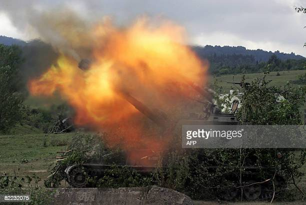 IPTC Russian artillery in the South Ossetian town of Dzhava fires on Georgian positions on August 9 2008 Russian Prime Minister Vladimir Putin said...