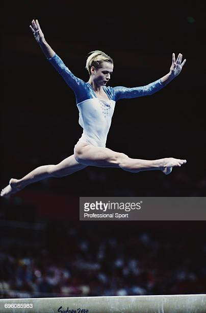 Russian artistic gymnast Svetlana Khorkina pictured in action competing for Russia on the balance beam during competition in the Women's artistic...