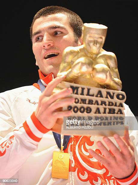 Russian Artur Beterbiev celebrates after he won the world title of Light Heavy 81 kg during the AIBA World Boxing Cup at Assago forum in Milan on...