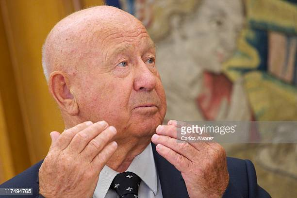Russian astronaut Alexei Leonov meets Prince Felipe of Spain at Zarzuela Palace on June 27 2011 in Madrid Spain