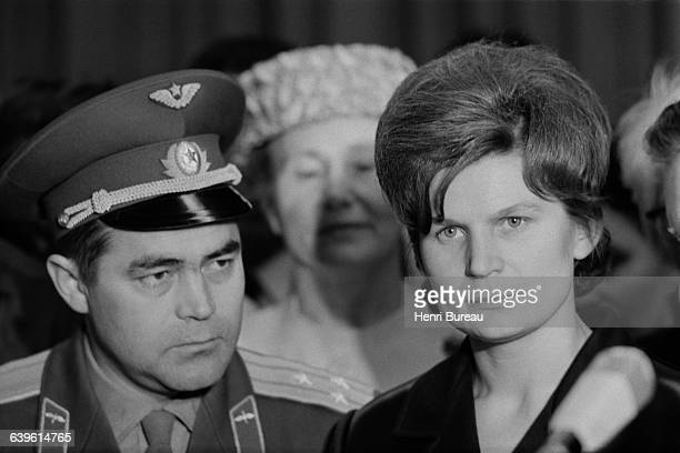 Russian astronaut Valentina Terechkova with her husband astronaut Andrian Nikolaiev on a visit to France