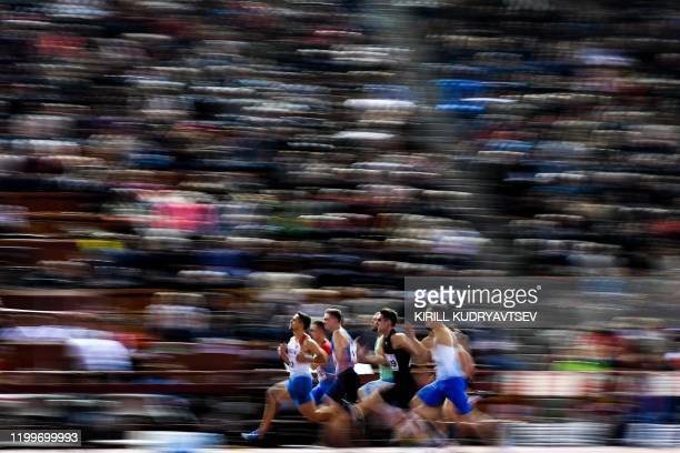 TOPSHOT Russian athletes attend the 60m sprint event in the Russkaya Zima Athletics competition in Moscow on February 9 2020 The entire board of...