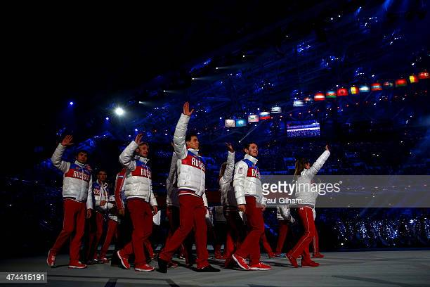 Russian athletes walk in during the 2014 Sochi Winter Olympics Closing Ceremony at Fisht Olympic Stadium on February 23 2014 in Sochi Russia