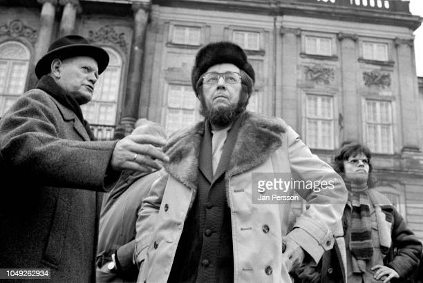 Russian author Aleksandr Solzhenitsyn arriving in Copenhagen after deported from Russia 1974 Here at the Danish royal palace Amalienborg