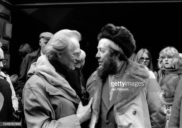Russian author Aleksandr Solzhenitsyn arriving in Copenhagen after deported from Russia 1974 Here Danish author Hans Jorgen Lembourn and Aleksandr...
