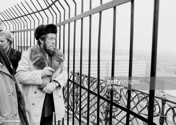 Russian author Aleksandr Solzhenitsyn arriving in Copenhagen after deported from Russia 1974 Here at the top of Rundetaarn Copenhagen Denmark