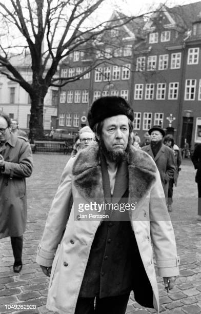 Russian author Aleksandr Solzhenitsyn in the streets of Copenhagen after deported from Russia 1974