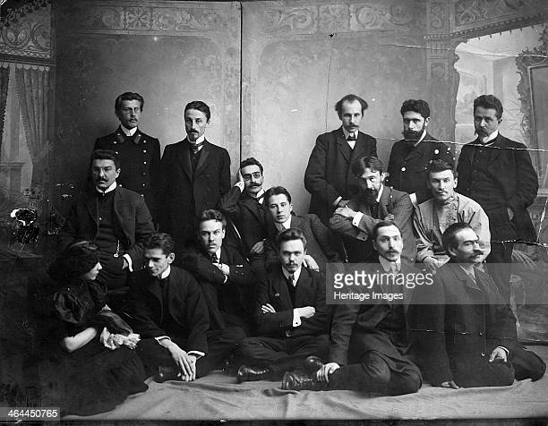 Russian author and poet Andrei Bely with symbolist authors 1907 Andrei Bely was the pen name adopted by Boris Nikolaevich Bugaev who was a member of...
