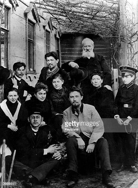 Russian author Anton Chekhov with his friends and family in his house in Moscow