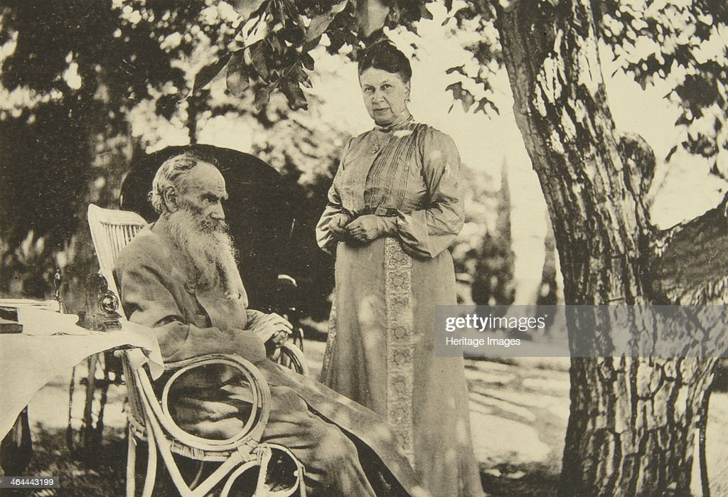 Russian author Leo Tolstoy and his wife Sophia by the Black Sea, Crimea, Russia, 1902. Artist: Sophia Tolstaya : News Photo