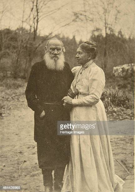 Russian author Leo Tolstoy and his wife, Sophia, Russia, 23 September 1910. Tolstoy married Sophia Andreyevna Behrs in 1862. They are pictured here...