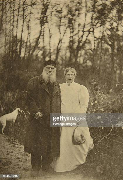 Russian author Leo Tolstoy and his wife Sophia Tolstaya, Russia, 1895. Tolstoy married Sophia Andreyevna Behrs in 1862. They are pictured here on the...