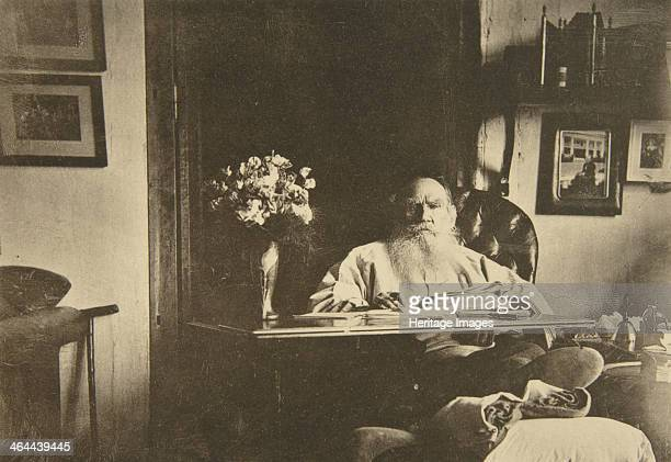 Russian author Leo Tolstoy with a bad leg, Russia, 1908. Found in the collection of the State Museum of Leo Tolstoy, Moscow.