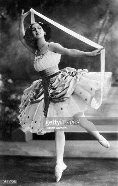 Russian ballerina Anna Pavlova dancing with a ribbon