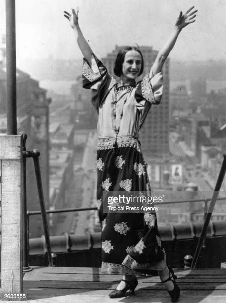 Russian ballerina Anna Pavlova on the roof of her hotel during a visit to New York