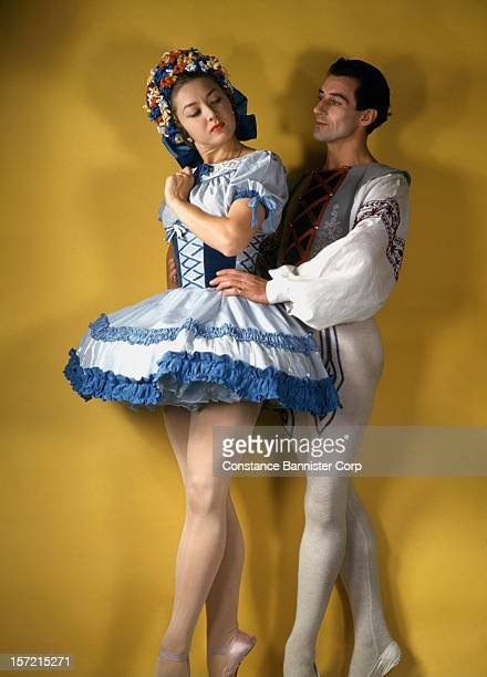 Russian ballerina Irina Baronova and her partner Anton Dolin appear in the ballet 'Coppelia' at the Metropolitan Opera in New York City 1945