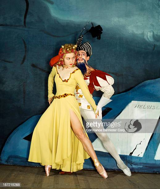 Russian ballerina Irina Baronova and her partner Anton Dolin as Mr and Mrs Bluebeard in the ballet 'Bluebeard' at the Metropolitan Opera in New York...
