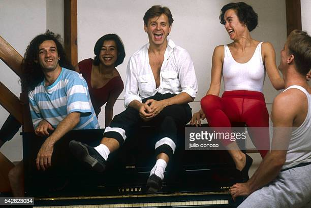 Russian ballet dancer and choreographer Mikhail Baryshnikov laughs with Mark Morris and his dance group in Brussels An American dancer and...