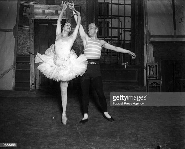 Russian ballet dancer Anna Pavlova rehearing with her partner Alexandre Volsinine She and her company are performing at the Golder's Green Hippodrome...