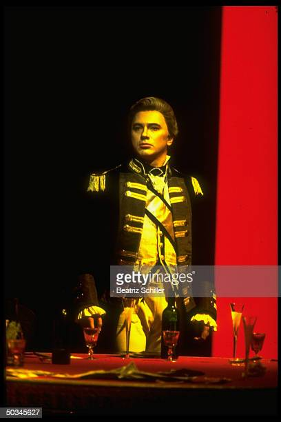 Russian baritone Dmitri Hvorostovsky in scene fr Tchaikovsky's The Queen of Spades on stage at the Metropolitan Opera