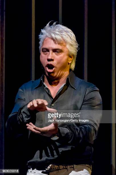 Russian baritone Dmitri Hvorostovsky performs during final rehearsal for 'Don Carlo' before the 20052006 Pension Fund Gala at Lincoln Center's...
