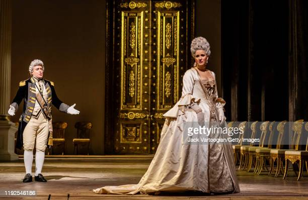 Russian baritone Igor Golovatenko and Norwegian soprano Lise Davidsen perform during the final dress rehearsal prior to the season revival of the...