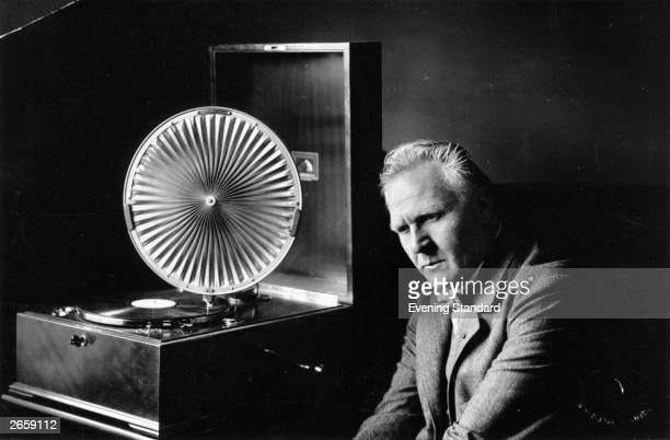 Russian bass singer Feodor Ivanovich Chaliapin listening to a gramophone player