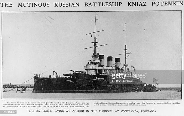 Russian battleship Potemkin lying at anchor in the harbour at Constanza In the 1905 Revolution the ship's crew rose in mutiny and killed their...