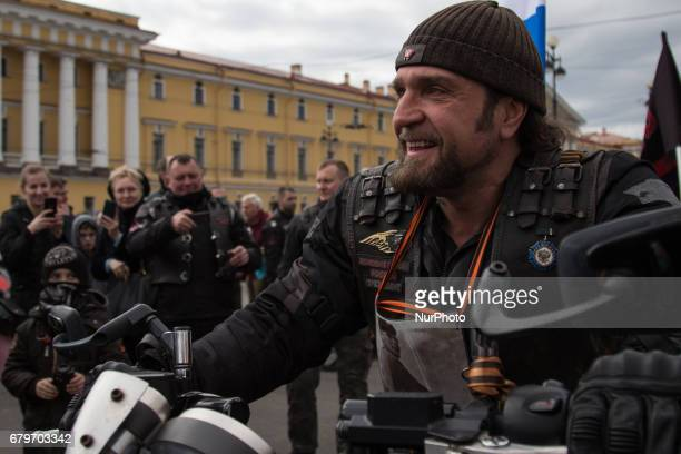 Russian biker group leader of Nochniye Volki Alexander Zaldostanov also known as Khirurg during the opening ceremony of the new motorbiking season in...