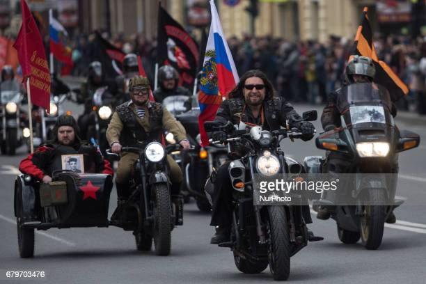 Russian biker group leader of Nochniye Volki Alexander Zaldostanov also known as Khirurg rides during the opening ceremony of the new motorbiking...