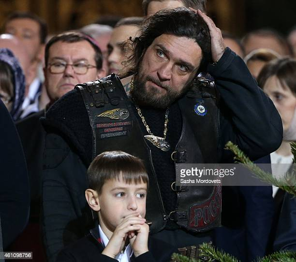 Russian bikers leader and president of the Night Wolves Club Alexander Zaldostanov also know as 'Khirurg' attends the Christmas Mass in the Christ...