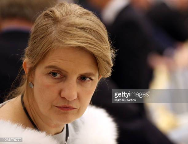 Russian billionaire and businesman coFounder of Kaspersky lab CEO of InfoWatch Natalya Kasperskaya attends a meeting with top busimessmen at the...