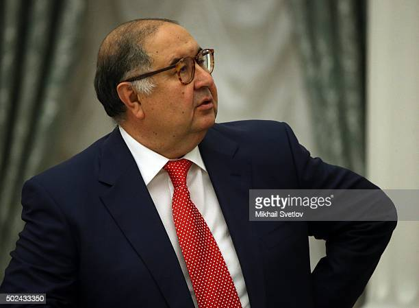 Russian billionaire and businessman Alisher Usmanov attends a meeting of business community representatives in the Kremlin on December 24 2015 in...