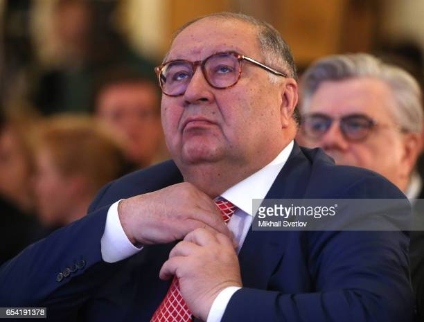 Russian billionaire and businessman Alisher Usmanov attends the plenary session of the Congress of Russian Union of Industrialists and Entrepreneurs...