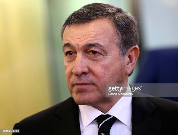 Russian billionaire and businessman Aras Agalarov speaks during the opening of the Yeltsin Center on November 25 2015 in Nizhny Tagil near...