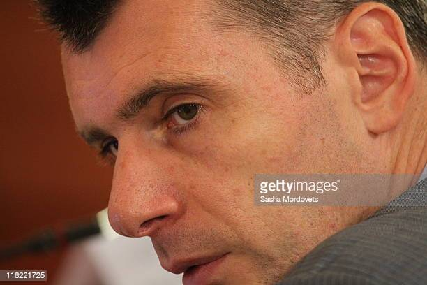 Russian billionaire and businessman Mikhail Prokhorov attends a government session focusing on new technologies at the Joint Institute for Nuclear...