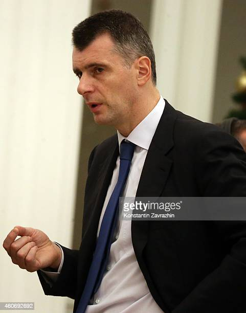 Russian billionaire and businessman Mikhail Prokhorov attends a meeting with Russian President Vladimir Putin in the Kremlin on December 19 2014 in...